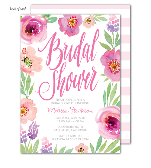 Watercolor Bridal Shower White Invitation