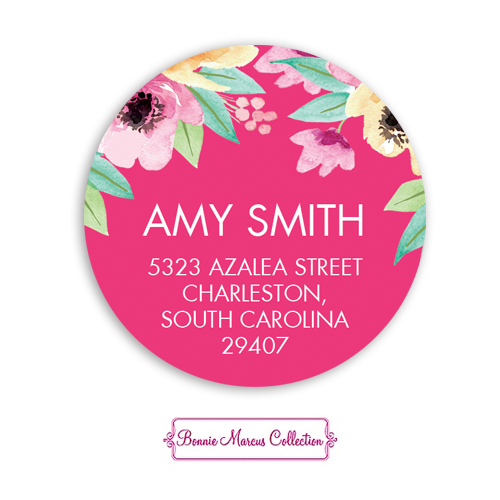 Wonderful Watercolor Blossoms Pink Return Address Sticker
