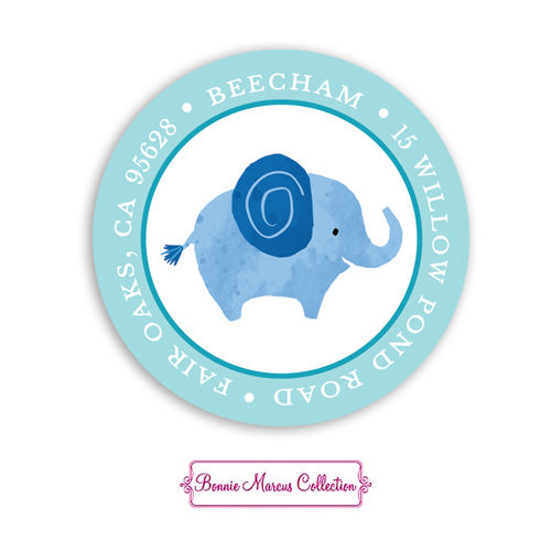 Baby Safari Blue Return Address Sticker