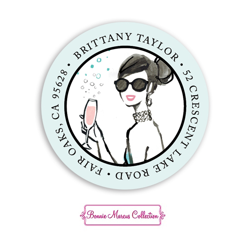 Bubbly Blue Dress Return Address Sticker
