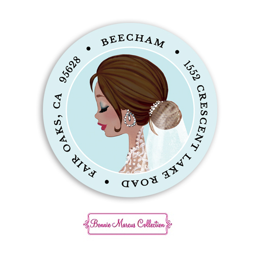 Vintage Veil Multicultural Return Address Sticker