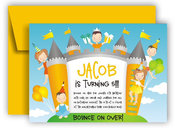 Boy Bounce Castle Invitation