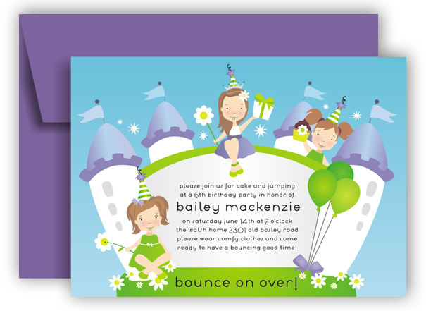Girl Bounce Castle Invitation