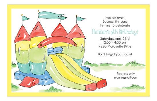Bounce House Slide Birthday Invitation