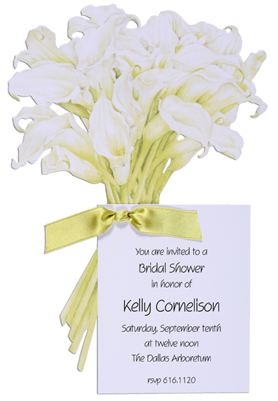 Bouquet Invitation with Lime Ribbon