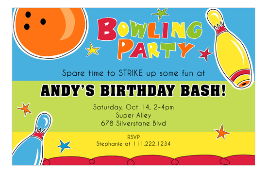 spare time bowling bash kids party invitations bowling party