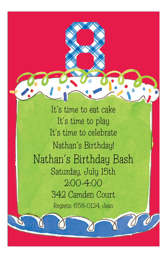 Boy Eighth Birthday Invitation