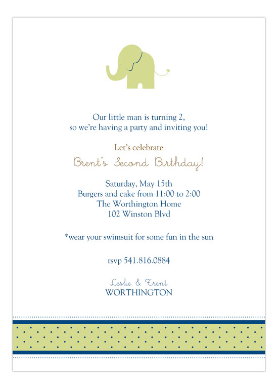 Boy Elephant Icon Invitation
