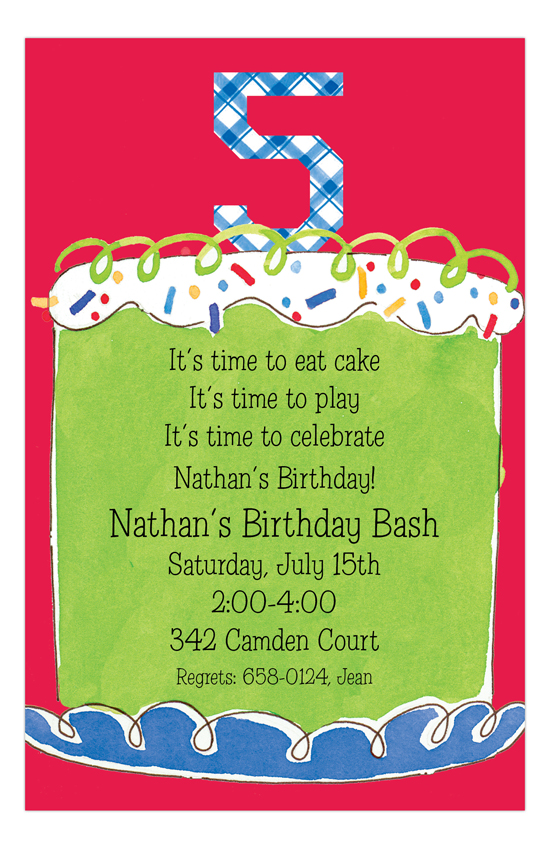 Boy Fifth Birthday Invitation