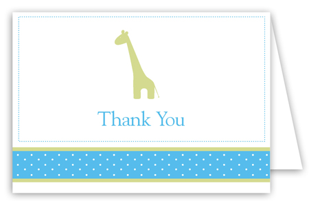 Boy Giraffe Icon Folded Note Card