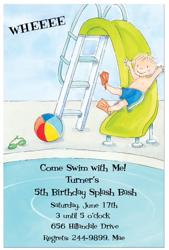 Boy Pool Slide Invitation