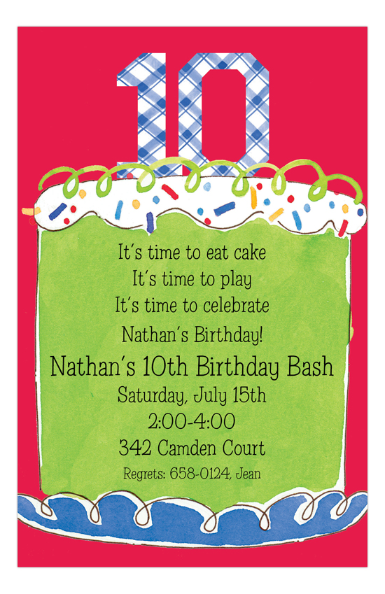 Boy Tenth Birthday Invitation