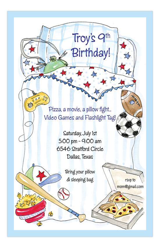 Sports and Games Boys Sleepover Party Invitations