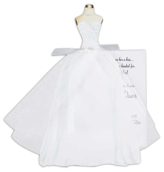 Bridal Dress with Tulle Invitation