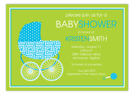 Bright Blue Baby Buggy Invitation