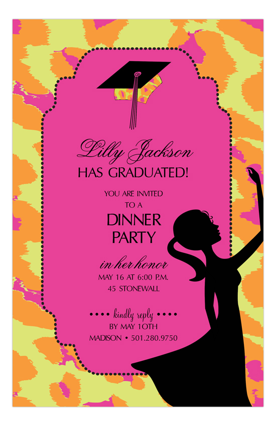 Bright Leopard Cap Graduation Invitations