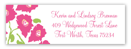 Bright Pink Poppies Address Label
