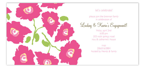 Bright Pink Poppies Invitation