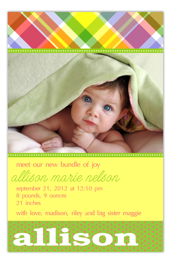 Bright Plaid Photo Card