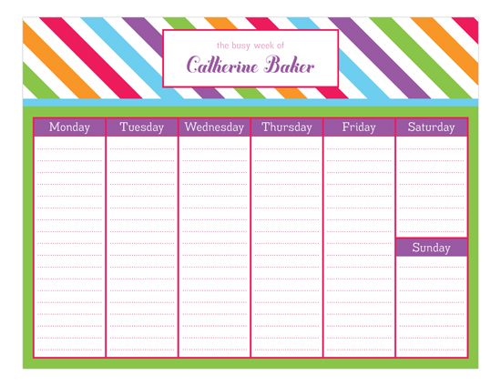 Bright Stripes Calendar Pad