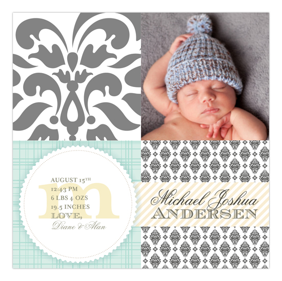 Brocade Baby Bliss Pale Blue Square Photo Card