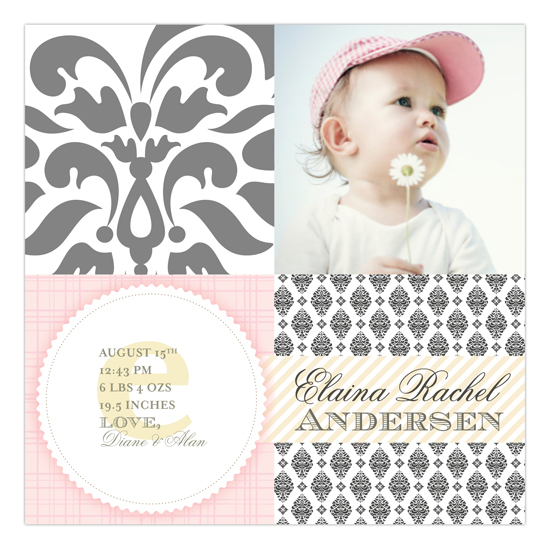Brocade Baby Bliss Pale Pink Square Photo Card