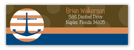 Brown Anchors Away Address Label