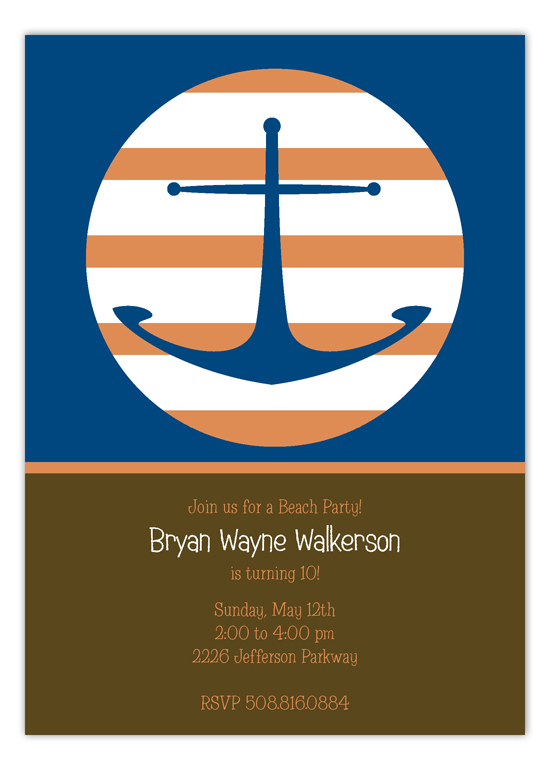 Nautical Brown Anchors Away Invitation