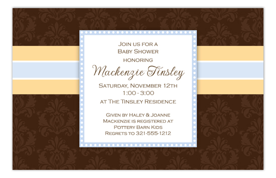 Brown Damask Boy Invitation