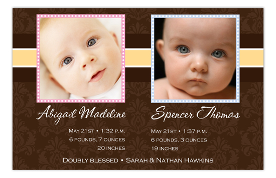 Brown Damask Girl And Boy Twins Photo Card