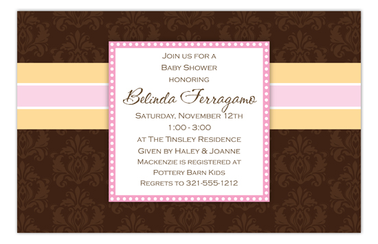 Brown Damask Girl Invitation