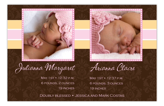 Brown Damask Girl Twins Photo Card
