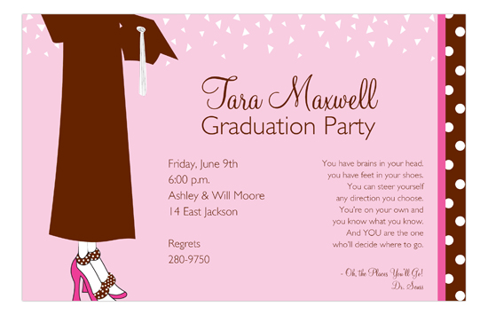Brown Dots and Confetti Graduation Invitation