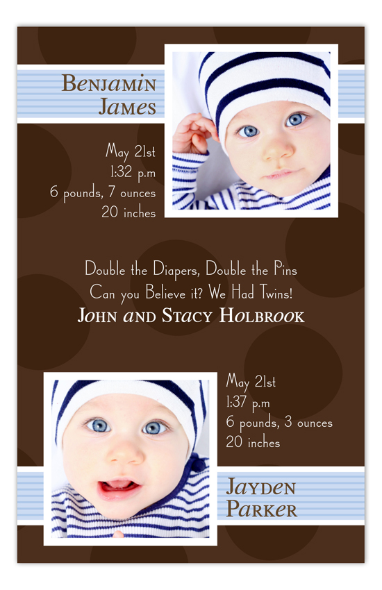 Brown Dots Boy Twins Photo Card
