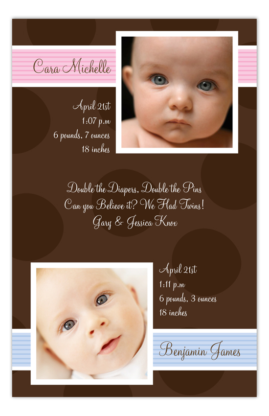 Brown Dots Girl And Boy Twins Photo Card