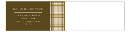 Brown Glen Plaid Envelope Wrap Address Label