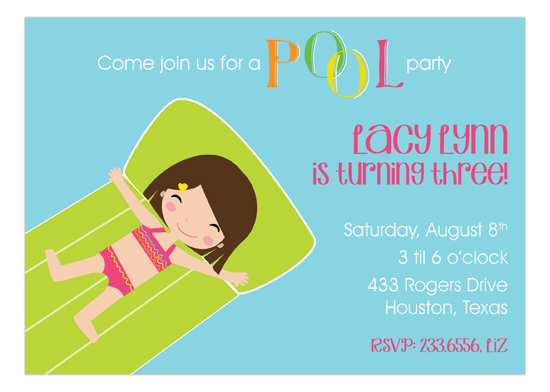 Brown Haired Swimming Girl Invitation