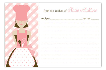 Brunette Chef Recipe Card