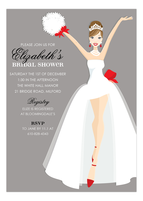 Brunette Here Comes The Bride Holiday Invitation