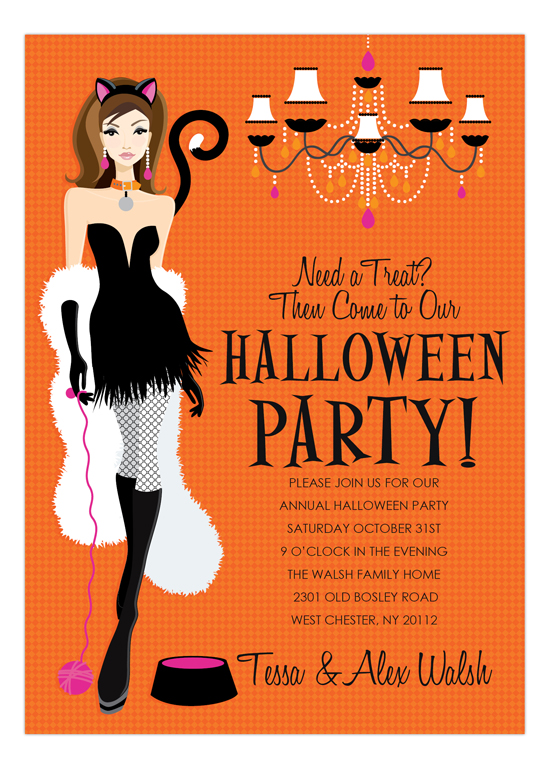 Brunette Here Kitty Halloween Invitation