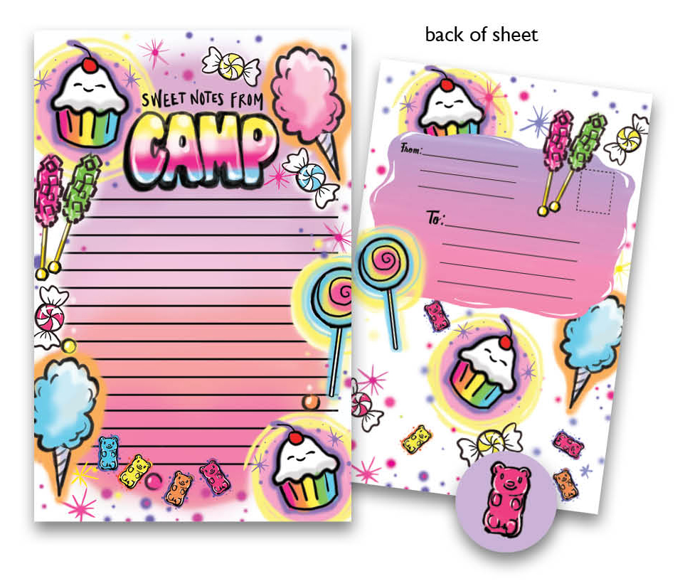 Airbrush Sweets Kids Camp Stationery