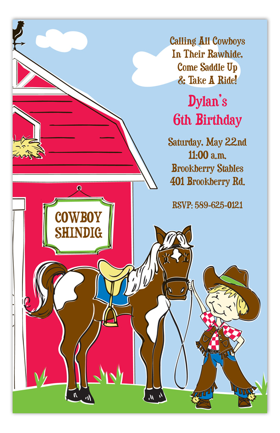 Buckeroo Cowboys Kids Birthday Invites