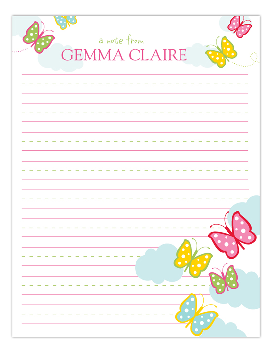 Butterfly Breeze Kids Personalized Notepads