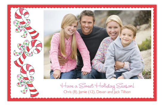 Sweet Holiday Season Candy Cane Family Photo Card