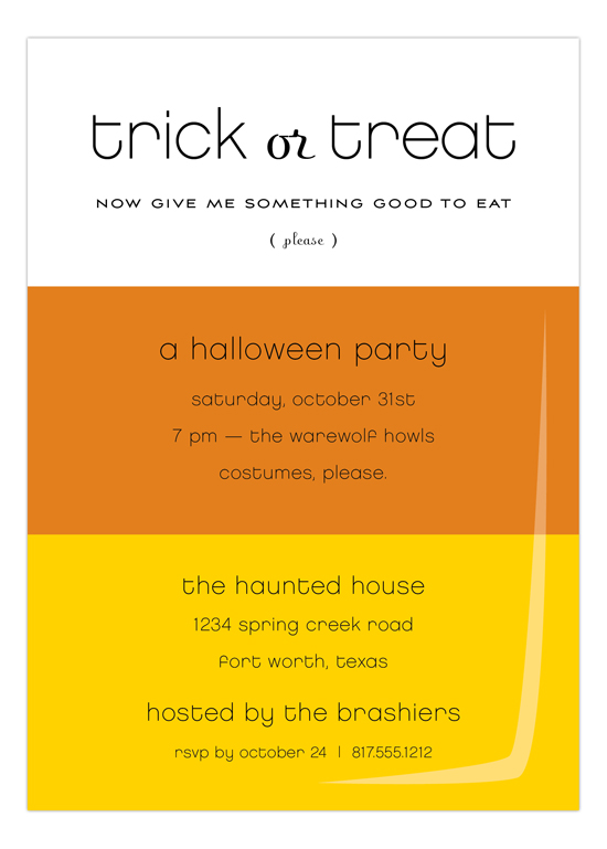 Candy Corn Trick or Treat Halloween Invitations