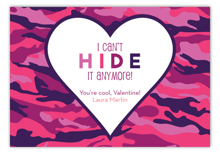 Cant Hide it Girl Valentine Card
