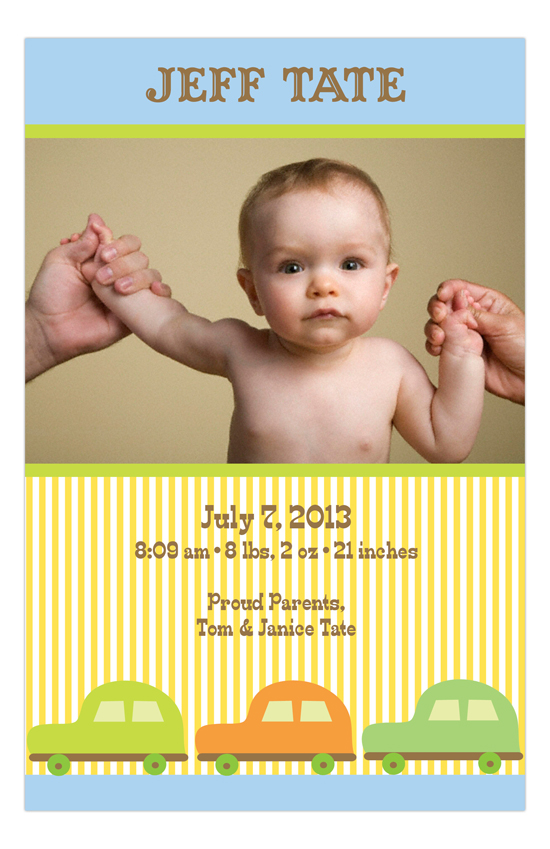 Pinstripe Cars Baby Boy Birth Photo Cards