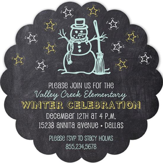 chalkboard snowman invitation winter party invitations