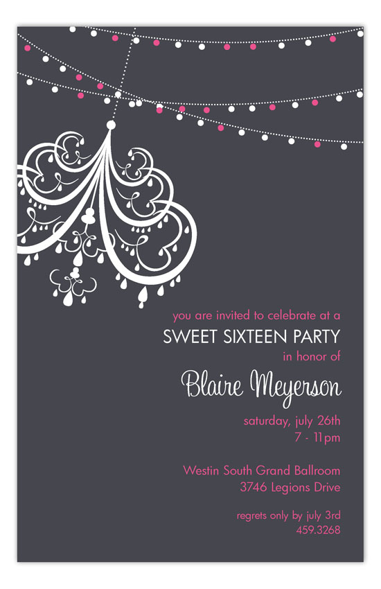 Charcoal Party Lights Invitation Masquerade Sweet 16 Invitations