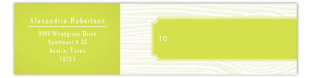 Chartreuse Woodgrain Envelope Wrap Address Label
